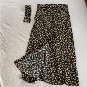 ZARA Stretch w/ Belt Floral Midi Skirt